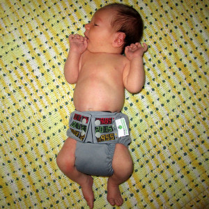 Nerdbaby celebrating Back to the Future Day. Diaper from Seams Geeky.