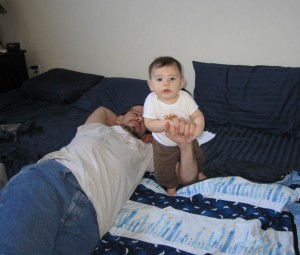 Daddy helps me stand