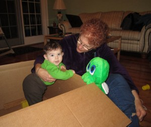 Standng in a box with Grandma R