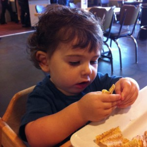 Lunch after DJ's first haircut