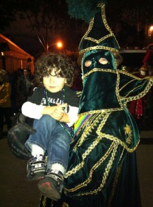 DJ with an Officer of a Krewe before the parade starts.