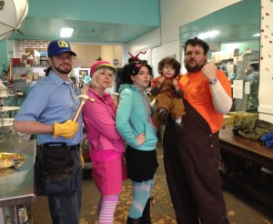 The whole family in their Wreck-it Ralph costumes
